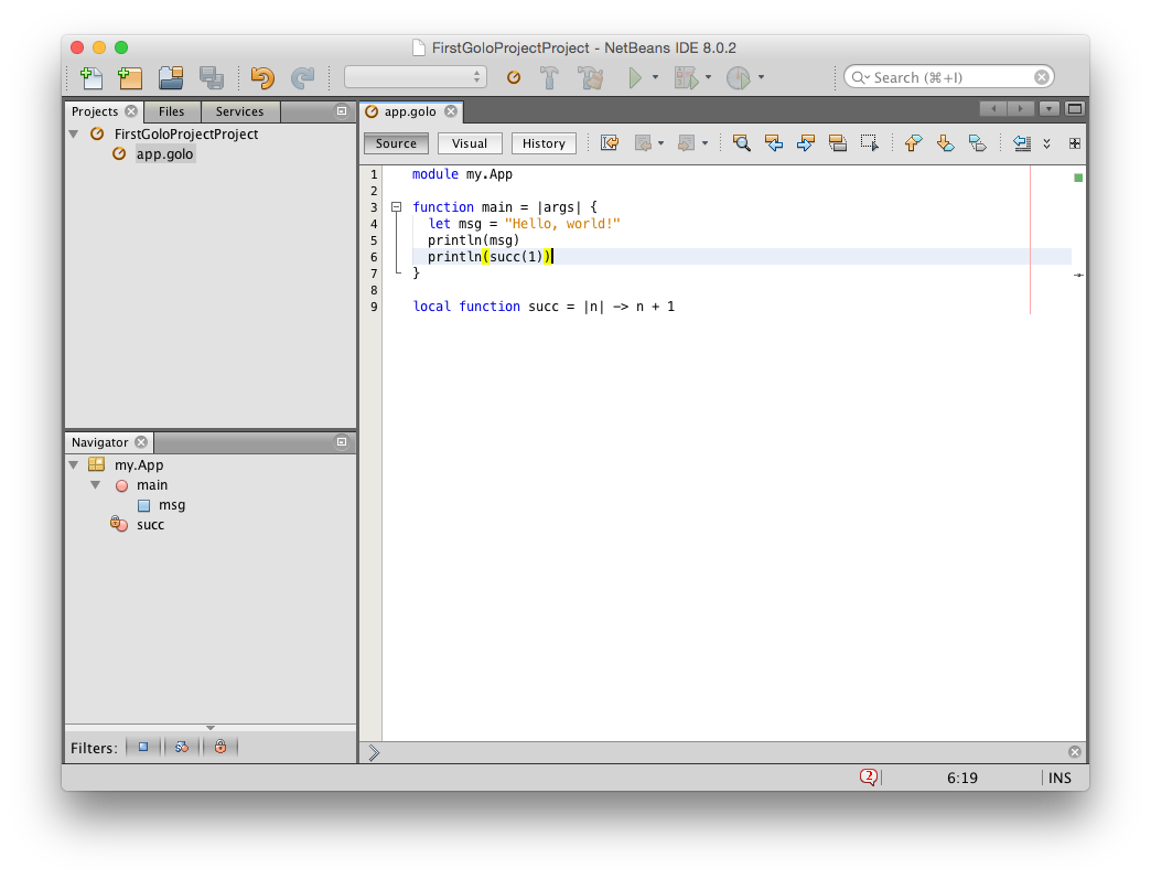 Netbeans and Golo